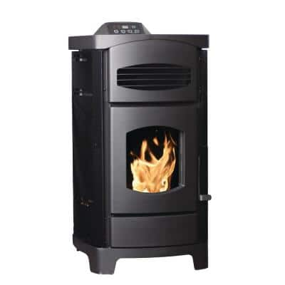 2200 sq. ft. EPA Certified Pellet Stove with 40 lb. Hopper and Remote Control in Polished Black Sides