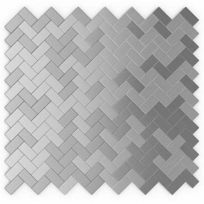 Earl Grey Stainless Steel 12.09 in. x 11.65 in. x 5mm Brushed Metal Self Adhesive Wall Mosaic Tile