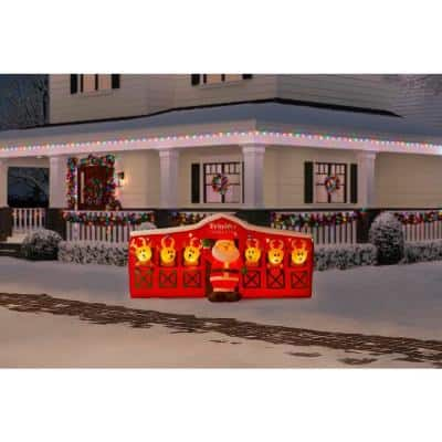 9 ft Giant-Sized LED Inflatable Santa's Stable with Reindeer