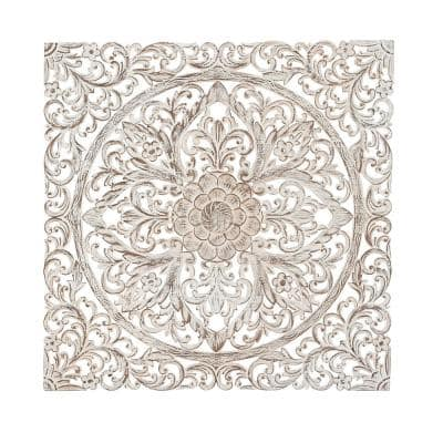 36 in. x 36 in. Carved Flowers and Flourishes Wood Wall Art