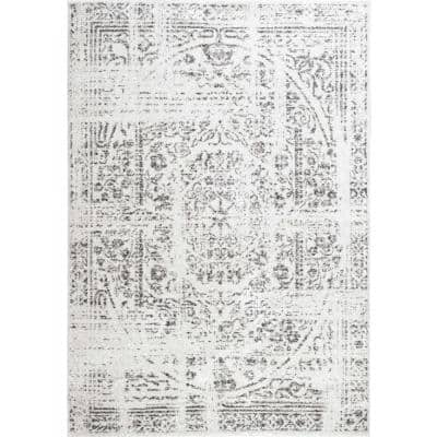 Arlena Distressed Persian Medallion Gray 4 ft. x 6 ft. Area Rug