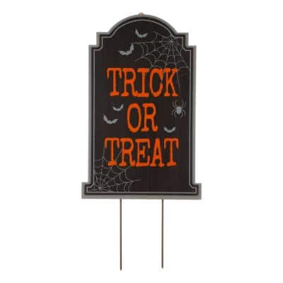 29 in. H Halloween Wooden Tombstone Yard Stake or Standing Decor or Hanging Decor (KD, 3 Function)