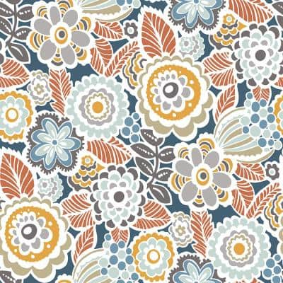 Lucy Navy Floral Navy Paper Strippable Roll (Covers 56.4 sq. ft.)