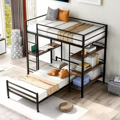 Black Metal Twin Over Twin Bunk Bed Daybed with Shelves