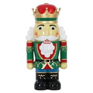 24 in. Resin Nutcracker King with LEDs Garden Statue