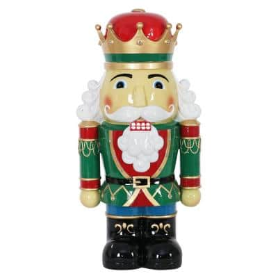 24 in. Resin Nutcracker King with LEDs Garden Statue