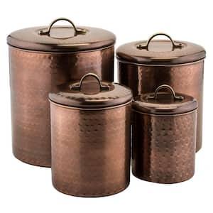 4-Piece Hammered Antique Copper Canister Set