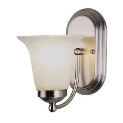 Cabernet Collection 1-Light Brushed Nickel Wall Sconce with White Marbleized Shade