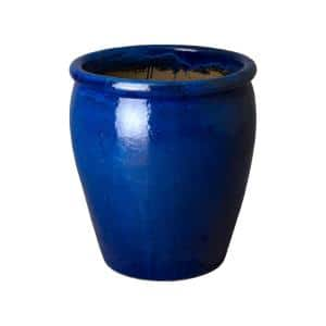 25 in. Round Blue Ceramic Planter