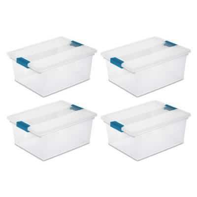 7 Qt. Plastic D-Clip Box Storage Bin Container with Lid in Clear (4-Pack)