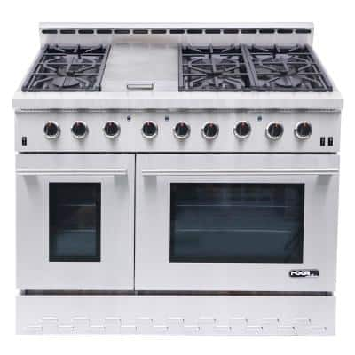 Entree 48 in. 7.2 cu. ft. Professional Style Liquid Propane Range with Convection Oven in Stainless Steel and Black
