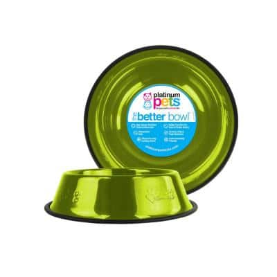 Embossed Non-Tip Stainless Steel Cat/Dog Bowl, Corona Lime