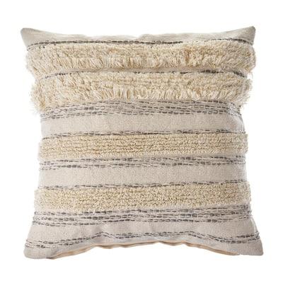 Zanthia Cream / Gray / Gold Striped Hypoallergenic Polyester 20 in. x 20 in. Throw Pillow