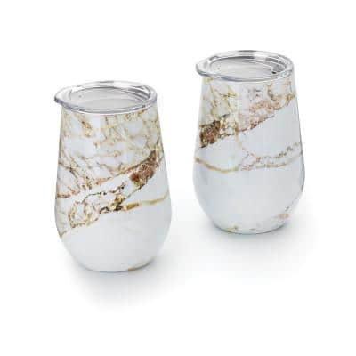 12 oz. Copper and White Marble Pattern Stainless Steel Double Wall Wine Glass Tumbler with Lid (Set of 2)