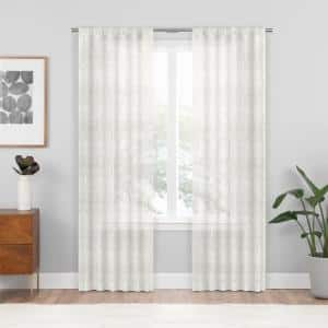 White Geometric Rod Pocket Sheer Curtain - 54 in. W x 84 in. L