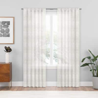 White Geometric Rod Pocket Sheer Curtain - 54 in. W x 84 in. L