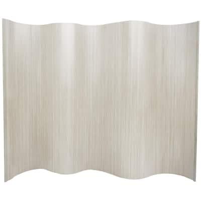 6 ft. White Bamboo Wave 1-Panel Room Divider