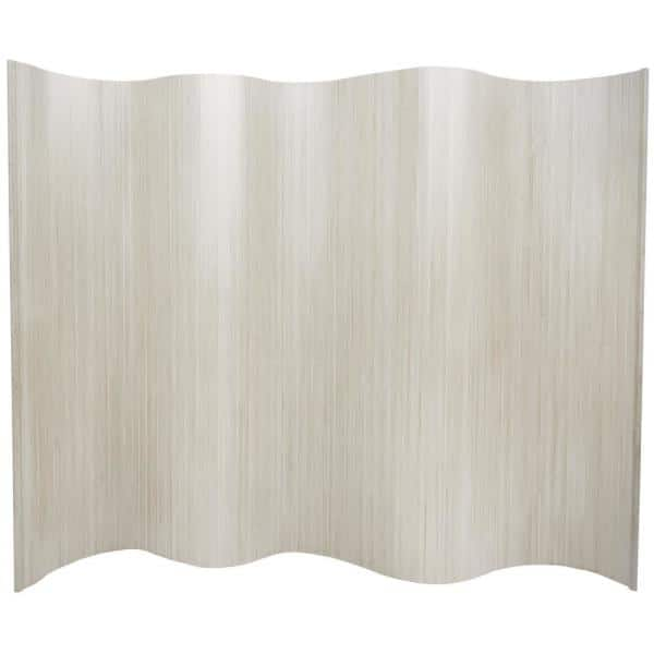 Oriental Furniture 6 Ft White Bamboo Wave 1 Panel Room Divider Bf 75 Wht The Home Depot