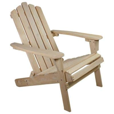 36 in. Natural Brown Classic Folding Wooden Adirondack Chair