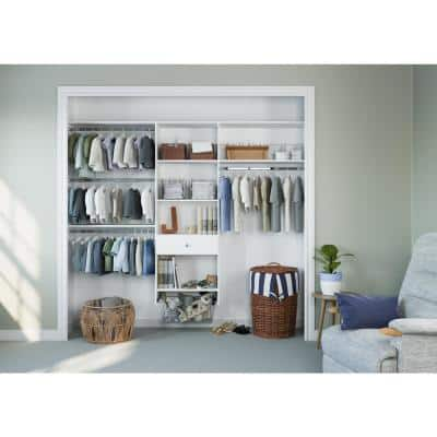 48 in. W - 96 in. W White Kids Convertible Wood Closet System