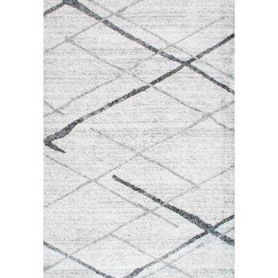 Thigpen Contemporary Stripes Gray 10 ft. x 13 ft. Area Rug
