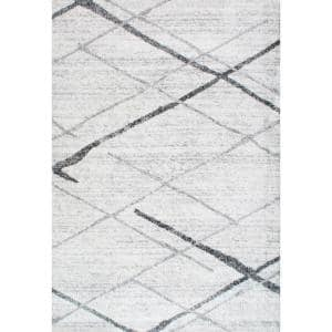 Thigpen Contemporary Stripes Gray 4 ft. x 6 ft. Area Rug