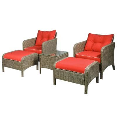 Brown 5-Piece Metal Plastic Rattan Outdoor Sectional Set with Red Cushions and Weather-Resistant Build
