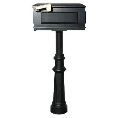 Hanford Single Black Post System Non-Locking Mailbox with Fluted Base and Lewiston Mailbox