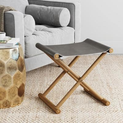 Campaign 18 in. Gray Foot Stool, Ottoman or Foldable Vanity,  Solid Wood Accent Frame & Soft Vegan Leather Seat
