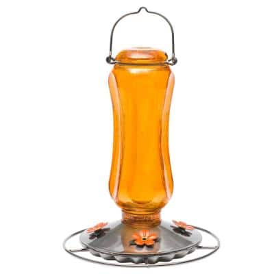 Orange Carnival Decorative Glass Oriole Nectar Feeder - 16 oz. Capacity