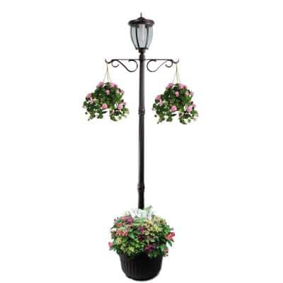 Kenwick 1-Light Outdoor Black Integrated LED Lamp Post and Planter