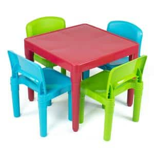 Lightweight Kids Multi-Colored Plastic Table and 4-Chair Set