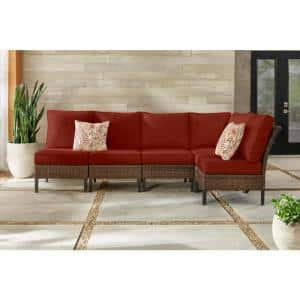 Harper Creek 6-Piece Brown Steel Outdoor Patio Sectional Sofa Seating Set with Sunbrella Henna Red Cushions