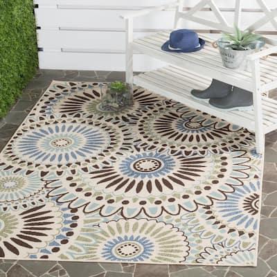 Veranda Cream/Blue 5 ft. x 8 ft. Indoor/Outdoor Area Rug