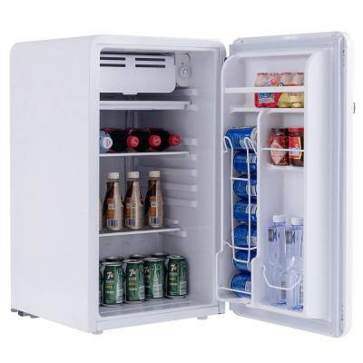 3.2 cu. ft. Retro Compact Mini Fridge Refrigerator with Freezer Interior Shelves Handle in White