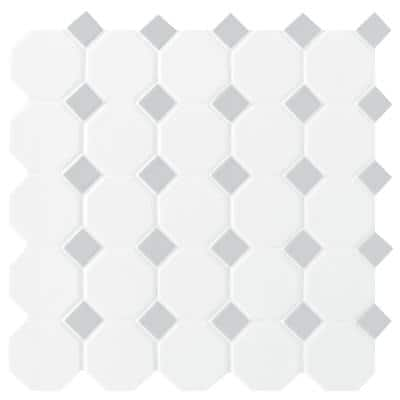 Prologue Matte White 12 in. x 12 in. x 6 mm Glazed Ceramic Octagon/Dot Mosaic Floor and Wall Tile (1 sq. ft./ each)