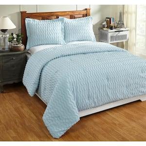 Isabella Comforter 3-Piece Blue King 100% Cotton Tufted Chenille Wavy Channel Design Comforter Set