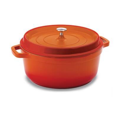 6 qt. Round Cast Aluminum Nonstick Dutch Oven in Orange with Lid