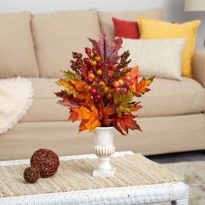 20 in. Maple Leaf and Berries Artificial Arrangement in White Urn