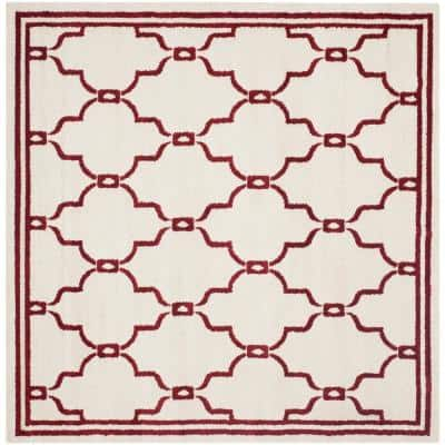 Amherst Ivory/Red 7 ft. x 7 ft. Square Area Rug