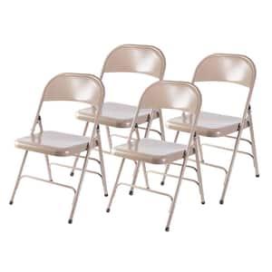 Beige Full Metal Curved Triple Braced Folding Chair (Set of 4)