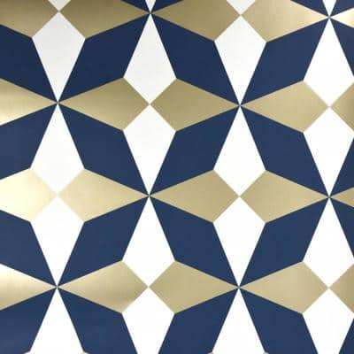 Newby Navy Geometric Paper Peelable Roll (Covers 56.4 sq. ft.)