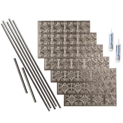 Traditional 1 18 in. x 24 in. Brushed Nickel Vinyl Decorative Wall Tile Backsplash 15 sq. ft. Kit