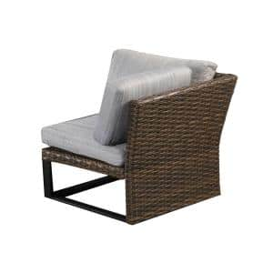 1-Piece Brown Wicker Outdoor Corner Sectional Armless Chair with Gray Cushions