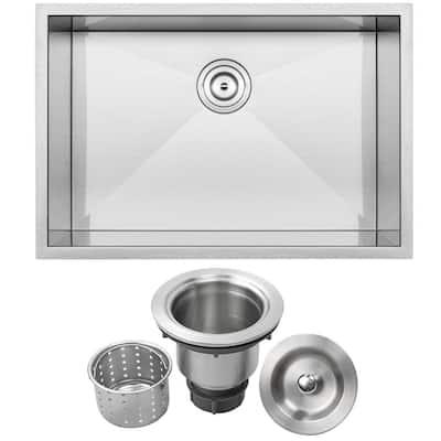 Pacific Zero Radius Undermount 16-Gauge Stainless Steel 28 in. Single Basin Kitchen Sink with Basket Strainer