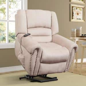 39 in. Width Big and Tall Beige Velvet Power Reclining Recliner