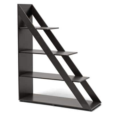 59 in. Dark Brown Wood 4-shelf Ladder Bookcase with Open Back