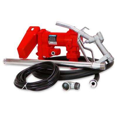 1/4 HP 20 GPM 12-Volt DC Powered Self-Priming Gasoline Fuel Transfer Pump with Nozzle