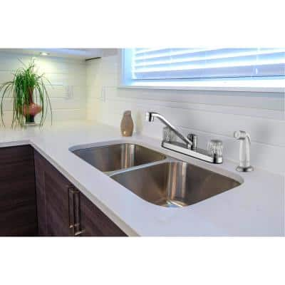 Aragon 2-Handle Standard Kitchen Faucet in Chrome with White Side Sprayer