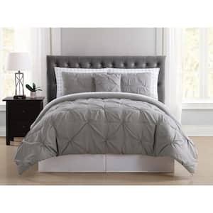 Arrow Pleated 8-Piece Grey Full Comforter Set